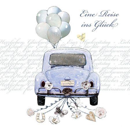 Swarovski Elements Hochzeit Grußkarte Handmade PopShot Reise ins Glück Auto 8x8cm