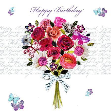 Swarovski Elements Geburtstag Grußkarte Handmade PopShot Happy Birthday bunter Blumenstrauß 8x8cm