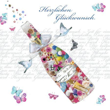 Swarovski Elements Geburtstag Grußkarte Handmade PopShot Glückwunsch bunte Sektflasche 8x8cm