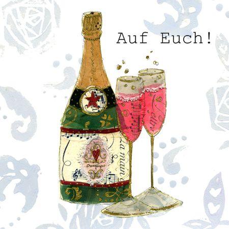 Swarovski Elements Geburtstag Grußkarte Handmade PopShot AUF Euch Sekt und Gläser 8x8cm
