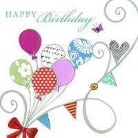 Swarovski Elements Geburtstag Grußkarte Handmade PopShot Happy Birthday Ballon Schleife 8x8cm