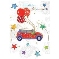 Swarovski Elements Geburtstag Grußkarte Handmade PopShot Glückwunsch Auto 12x17 cm