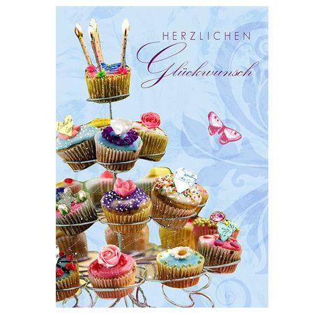Swarovski Elements Geburtstag Grußkarte Handmade PopShot Glückwunsch Muffins 12x17 cm