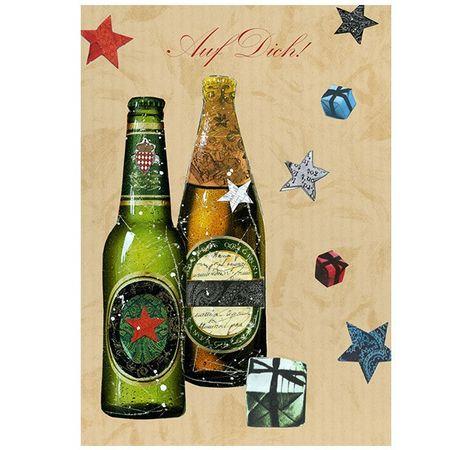 Swarovski Elements Geburtstag Grußkarte Handmade PopShot Auf Dich 2 Bier 12x17 cm