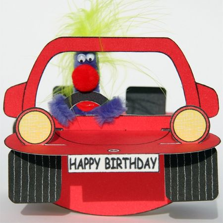 Pop Up Geburtstag ZZ Design Grußkarte PopShot Happy Birthday Auto rot 16x16cm