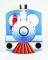 Pop Up Geburtstag ZZ Design Grußkarte PopShot Blaue Eisenbahn 16x16cm