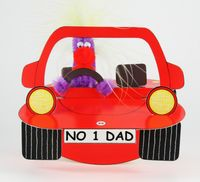 Pop Up Geburtstag ZZ Design Grußkarte PopShot No 1 Dad rotes Auto 16x16cm