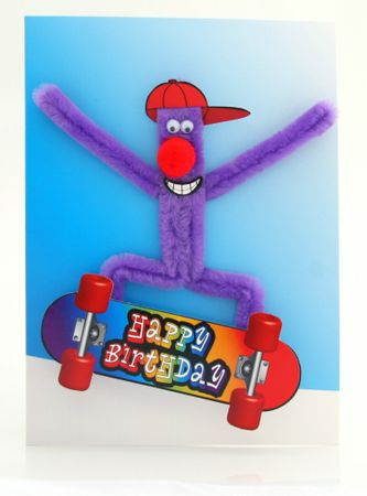 Pop Up Geburtstag ZZ Design Grußkarte PopShot Happy Birthday Punk auf Skateboard 13x18cm