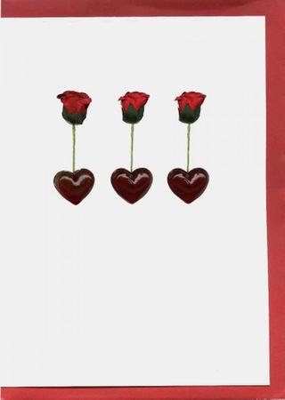 Pop Up Geburtstag ZZ Design Grußkarte PopShot 3 Herzen mit Rose 18x13cm