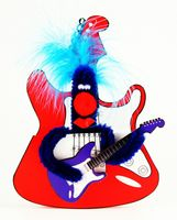 Pop Up Geburtstag ZZ Design Grußkarte PopShot rote Rock Gitarre 16x16cm