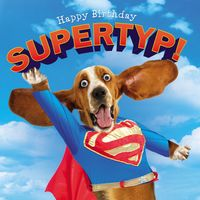 Geburtstag Humor Grußkarte Googlies PopShot Happy Birthday Supertyp Hund 16x16cm