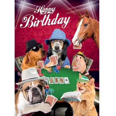 Geburtstag Humor Grußkarte Googlies Wackelaugen Happy Birthday Crazy Poker Runde 12x17cm