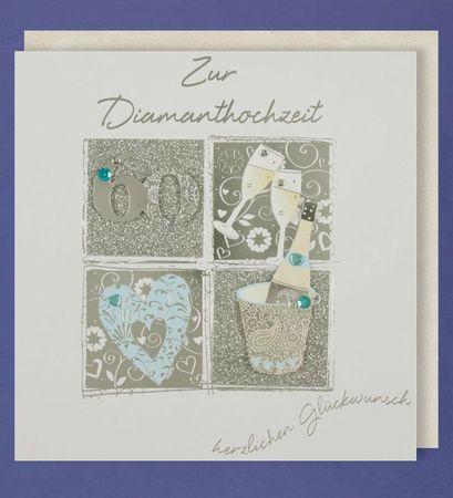 Diamanthochzeit Grußkarte 60 Handmade Applikation 60 Champagne 2 Gläser Herzen 21x21cm