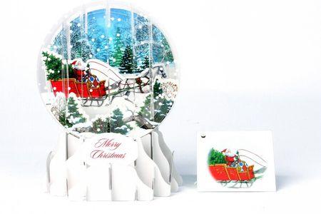 Pop Up 3D Weihnachten Schneekugel Grußkarte PopShot Kutsche mit Pferd im Schnee 9x13cm