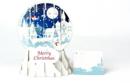 Pop Up 3D Weihnachten Schneekugel Grußkarte PopShot Winterlandschaft Stadt 9x13cm