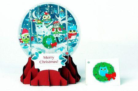 Pop Up 3D Weihnachten Schneekugel Grußkarte PopShot Eulen im Schnee 9x13cm