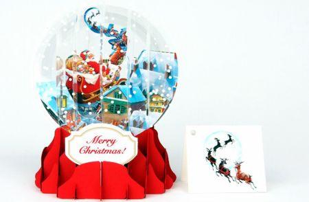 Pop Up 3D Weihnachten Schneekugel Grußkarte PopShot Weihnachtsmann Rentierschlitten 9x13cm