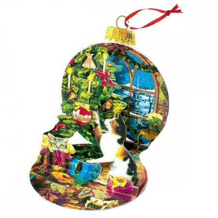Pop Up 3D Weihnachten Ornament Karte Baum Anhänger Karte PopShot Katze am Baum 10x13 cm