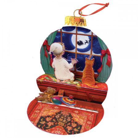 Pop Up 3D Weihnachten Ornament Karte Baum Anhänger Karte PopShot Mitternacht Mond 10x13 cm