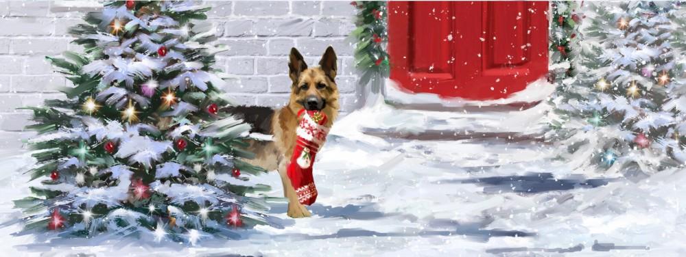 Pop Up 3D Weihnachten Panorama Karte PopShot Weihnachts Hunde 23x10 cm