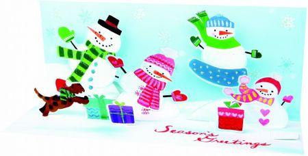 Pop Up 3D Weihnachten Panorama Karte PopShot spielende vier bunte Schneemänner 23x10 cm