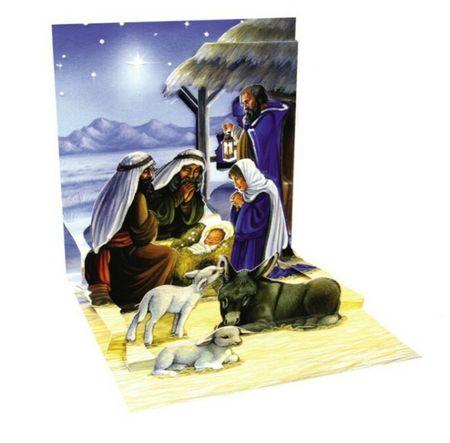 Pop Up 3D Weihnachts Mini Grußkarte PopShot Heilige Familie Krippe 7,6x7,6cm
