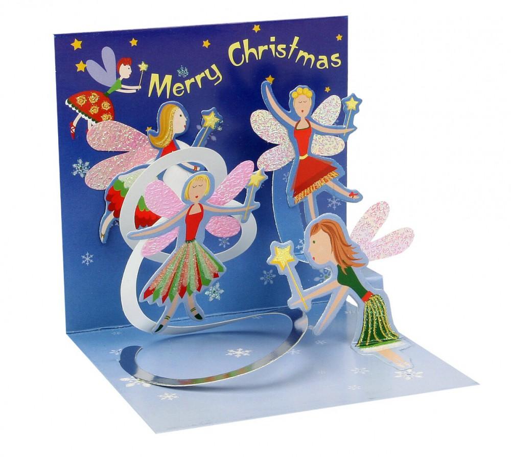 Pop Up 3D Weihnachts Mini Grußkarte PopShot tanzende Weihnachtsfeen 7,6x7,6cm