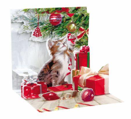 Pop Up 3D Weihnachts Mini Grußkarte PopShot Katze unter dem Baum 7,6x7,6cm