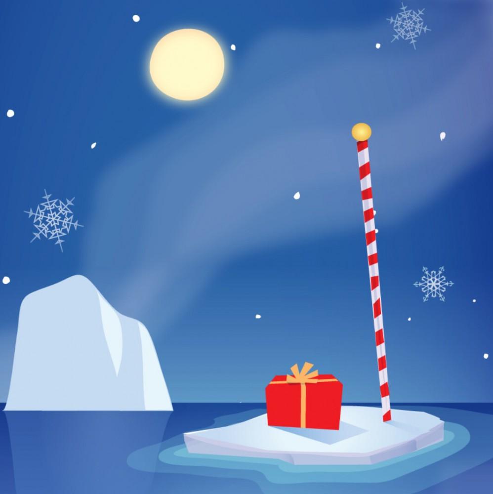 Pop Up 3D Weihnachts Mini Grußkarte PopShot Polar Eisbären 7,6x7,6cm