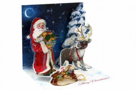 Pop Up 3D Weihnachts Mini Grußkarte PopShot Santa mit Geschenk und Rentier 7,6x7,6cm