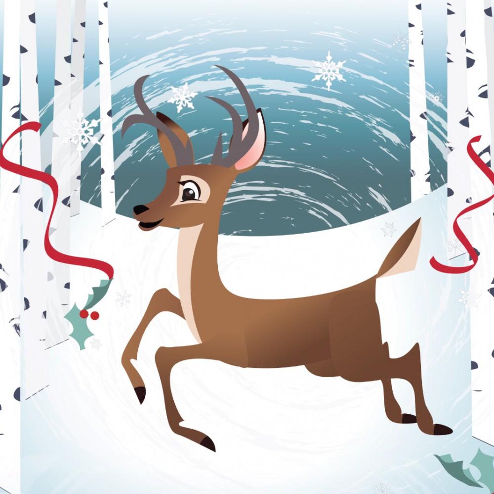 Pop Up 3D Weihnachts Mini Grußkarte PopShot Santa fährt Schlitten 7,6x7,6cm