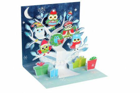 Pop Up 3D Weihnachts Mini Grußkarte PopShot Winter Eulen im Baum 7,6x7,6cm
