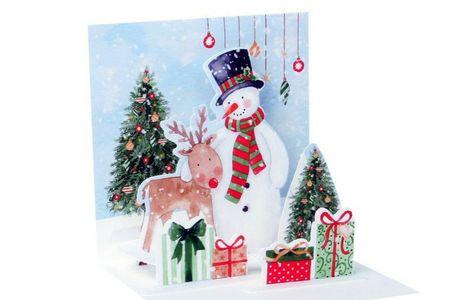 Pop Up 3D Weihnachts Mini Grußkarte PopShot Schneemann Reh Geschenke 7,6x7,6cm