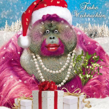 Weihnachten Humor Grußkarte Googlies Wackelaugen Orang-Utan Frohe Weihnachten 16x16cm