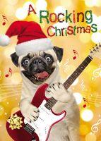 Weihnachten Humor Grußkarte Googlies Wackelaugen Mop der Rockstar 12x17cm