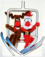 Pop Up Weihnachten ZZ Design Grußkarte PopShot Santa Claus Skilift 13x18cm