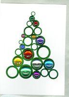 Pop Up Weihnachten ZZ Design Grußkarte PopShot Kugel Ringe Tannenbaum 13x18cm