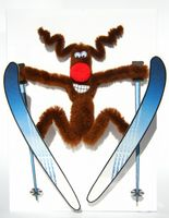 Pop Up Weihnachten ZZ Design Grußkarte PopShot Rudolph Rentier auf Skiern 13x18cm