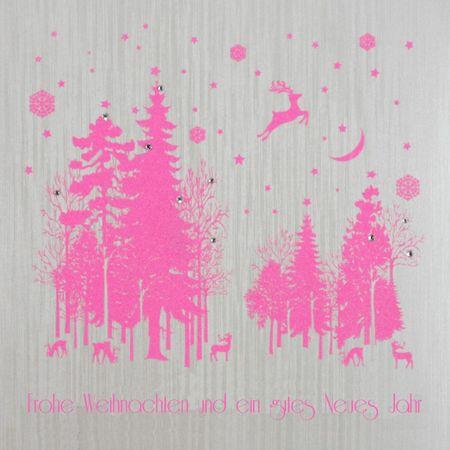 Swarovski Elements Weihnachten Grußkarte Handmade PopShot Pinke Bäume und Hirsch 16x16cm