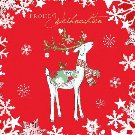 Swarovski Elements Weihnachten Grußkarte Handmade PopShot Hirsch in Rot 8x8cm