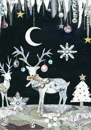 Swarovski Elements Weihnachten Grußkarte Handmade PopShot Hirsch in der Nacht 17x12cm