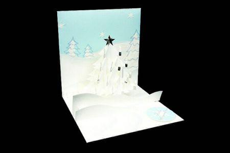 Pop Up 3D Weihnachten Karte PopShot weißer Schneebaum 13x13 cm