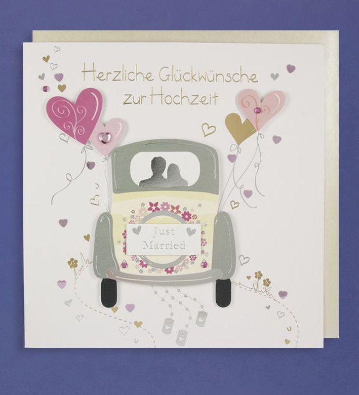 Hochzeit Grusskarte Handmade Applikation Gluckwunsche Just Married