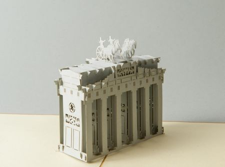 Berlin 3-D Pop Up Grußkarte Brandenburger Tor Handmade 15x15cm