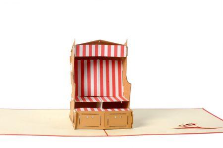 Maritime 3-D Pop Up Grußkarte Strandkorb Urlaub Geldgeschenk Handmade 15x15cm
