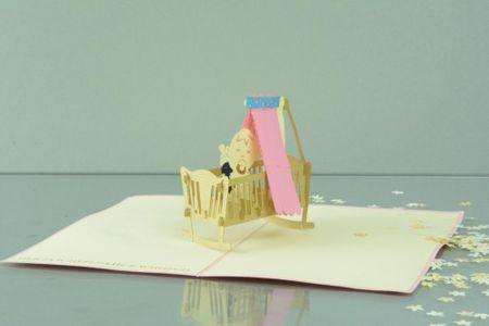 Geburt Mädchen 3-D Pop Up Grußkarte Kinderwiege rosa Handmade 17x10cm