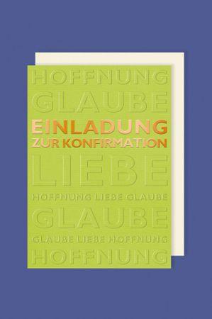 Konfirmation Einladungen Karte 5er Mehrstückpackung Goldene Schrift Grün Doppel Karten