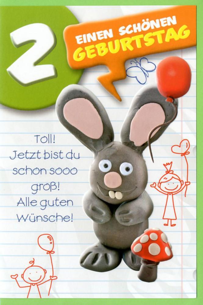 Grusskarte 2 Kinder Geburtstag Einen Schonen 2 Geburtstag Hase C6 507688