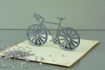 3-D Pop Up Grußkarte Geburtstag Geldgeschenk Handmade Fahrrad 17x10cm