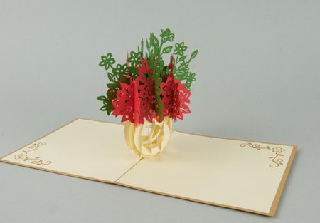 Blumen 3-D Pop Up Grußkarte Geburtstag Blumenbouquet grün-rot Geldgeschenk Handmade 15x15cm